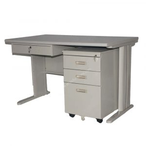 DMOT Set Light Gray Office Table with Drawer Cabinet